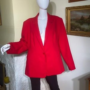 Calvin Klein Fitted Red Single Breasted Blazer